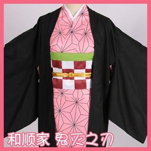Image 5 - Hot Nieuwe Anime Demon Slayer: Kimetsu Geen Yaiba Cosplay Kamado Nezuko Vrouw Japanse Kimono Cosplay Kostuum