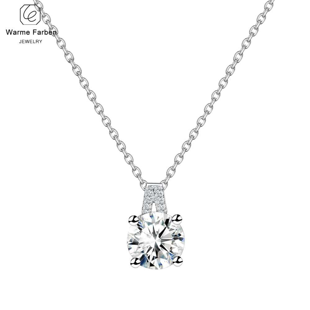 Warme Farben 925 Silver Necklace Fine Jewelry 1 Carat Zircon Stone Charm Women  Pendant Necklace Fashion 06ba7bd0554e
