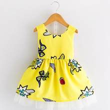 Girls Dress 2018 New Spring Summer Baby Girls Dress Cartoon Graffiti Pattern Backless Design Sleeveless Girls Clothes 3-8Y(China)