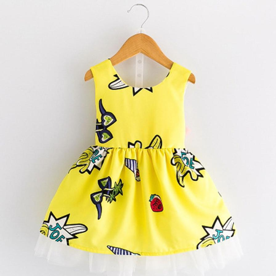 Girls Dress New Spring Summer Baby Girls Dress Cartoon Graffiti Pattern Backless Design Sleeveless Girls