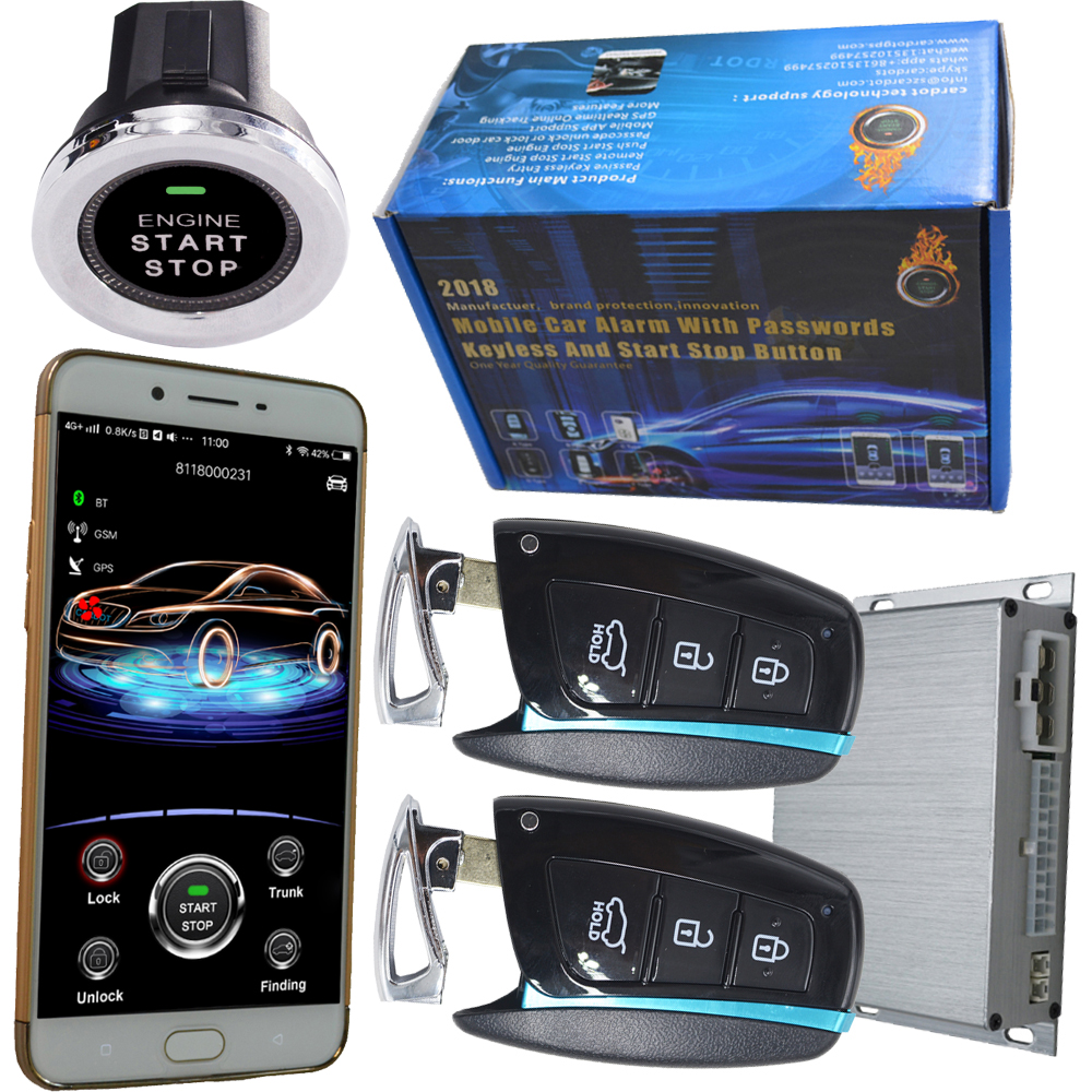 2019 year mobile phone security car alarm auto engine start stop wireless mobile app car central door lock discount price