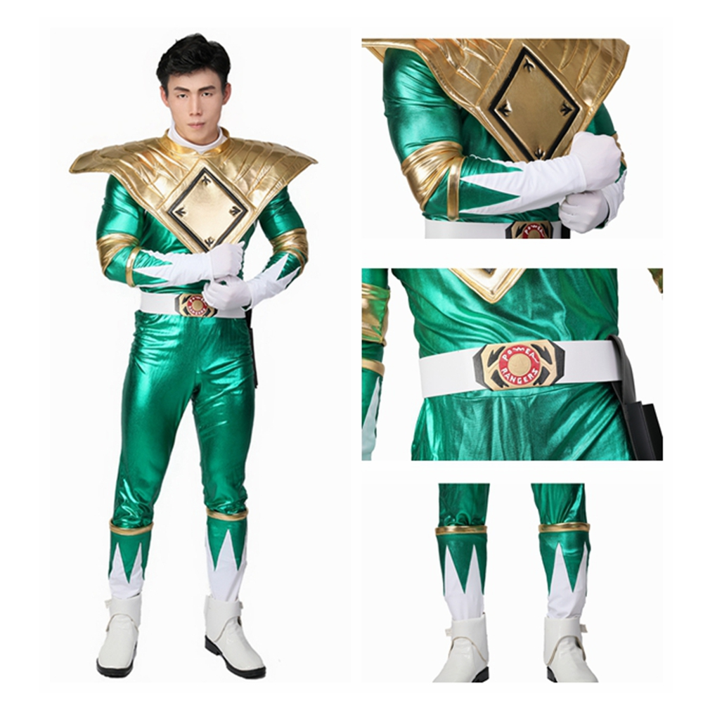 Coslive Green Ranger Costume Mighty Morphin Power Rangers Cosplay Green  Ranger Full Set Green PU Halloween Cosplay Costume -in Anime Costumes from  Novelty ... 07f0ef75c