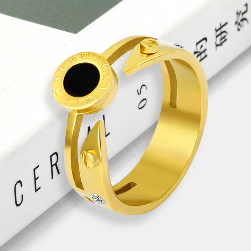 Fashion Roman Numeral Ring For Women Arrows Screw Men Ring Stainless Steel Ring Gold Jewelry Thumb Ring Accessory Lover Gift