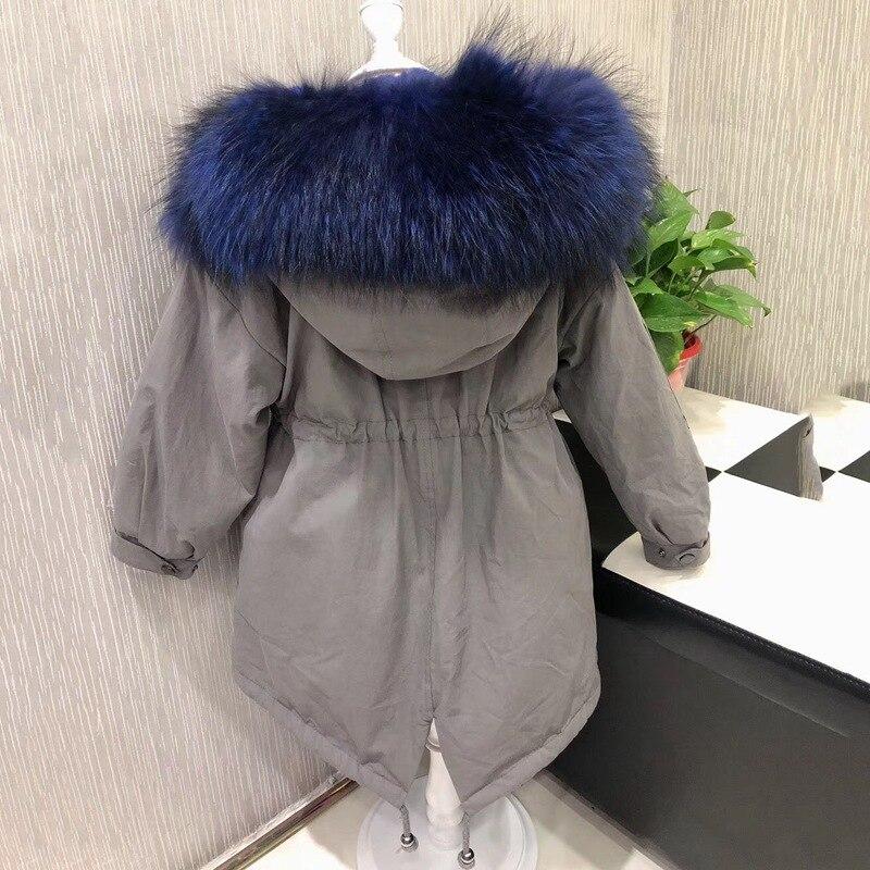 2018 lungo bambini parka con il real raccoon fur cappotto con cappuccio per trasporto libero di inverno Staccabile sottile della ragazza di inverno giacche naturale del coniglio del rex pelliccia