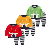 Toddler Sweater Knitted Top+Pants Suit Baby Girls Boys Cartoon Clothing Sets Casual Cute Cardigan Clothing Suit AA12184