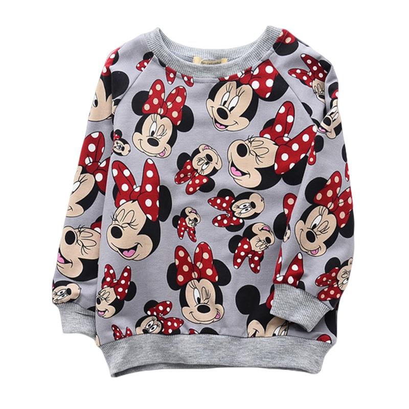 Girls Shirts Sweater Tops Children Clothes Long-Sleeve Minnie Mouse Autumn Kids Cute