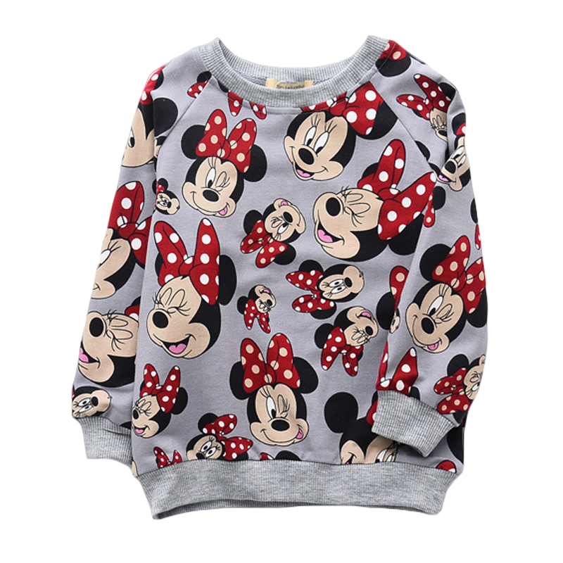 Spring Autumn Kids Girls Shirts Long Sleeve Minnie Mouse Cotton Cute Tops Girls Pullover Sweater Kids Children Clothes