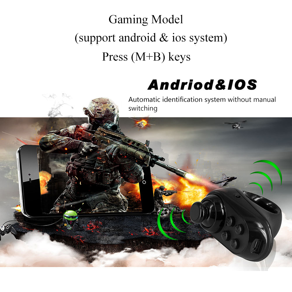 Wireless Bluetooth Finger Game Controller Handle Adapter Mouse Selfies Switch Pages Function Support Android iOS system