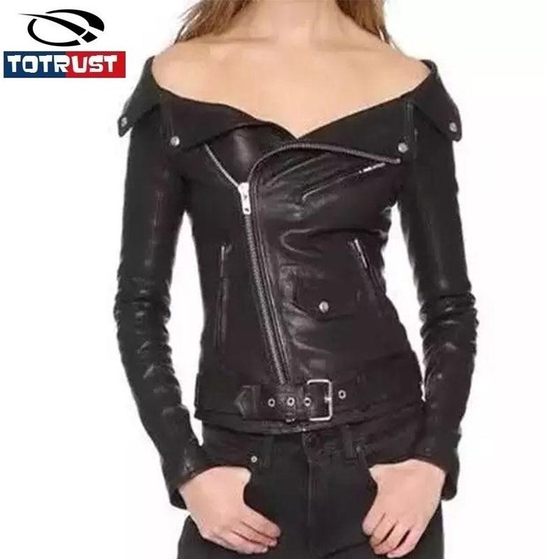 6af026a7d753 TOTRUST Sexy Off Épaule En Cuir Veste Femmes 2017 Nouveau Manteau Femmes  Vêtements Court Mince Moto Survêtement Veste Décontractée Femelle