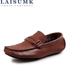 LAISUMK Summer Breathable Men Loafers Handmade Moccasins Genuine Leather Casual Shoes Slip On Flats Mens Driving Shoes Big Size цена