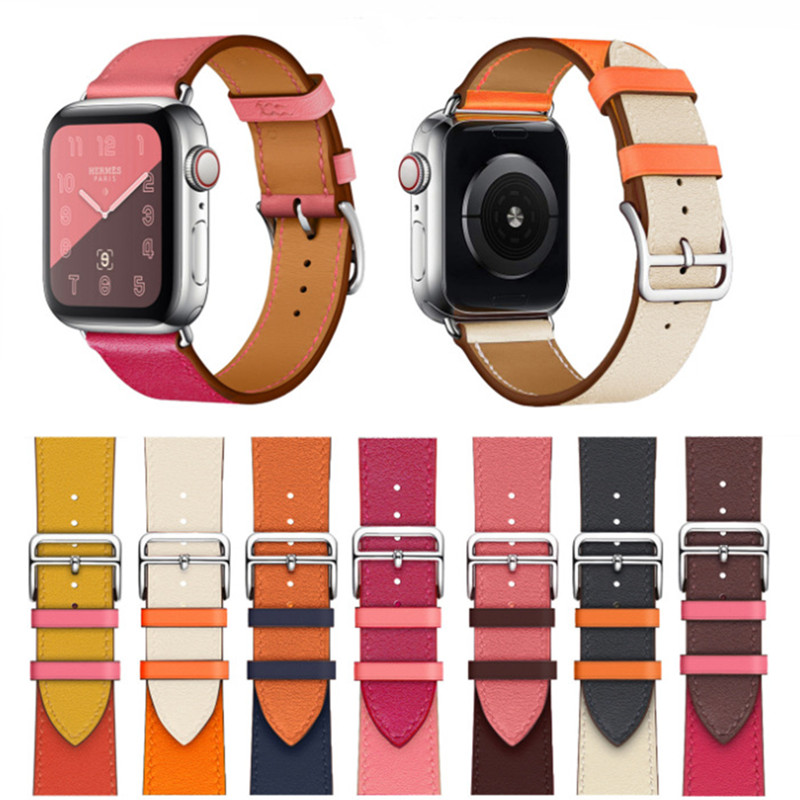 Contrast Color Sports Leather Band 40 44mm For Hermes Apple Watch 3 Band 38mm 42mm Breathable Bracelet Strap For IWatch 4 3 2 1