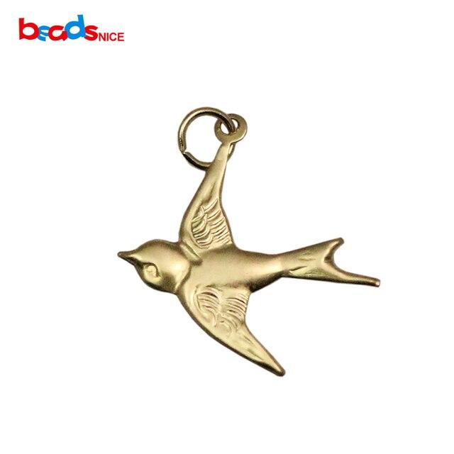 Beadsnice 925 silver 14kt gold sparrow bird charm fashionable beadsnice 925 silver 14kt gold sparrow bird charm fashionable pendant charm for necklace making id25928 aloadofball Images