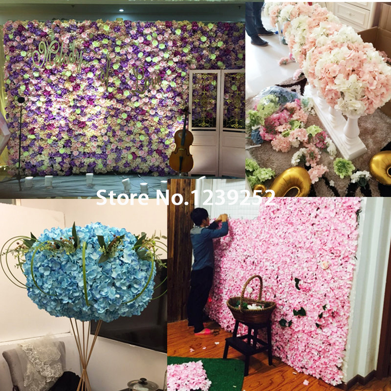 10pcs/lot Artificial Hydrangea Flower Head For Diy Wedding Wall Flower Bouquet Wreath Garland Home Decorative Flower +sticks