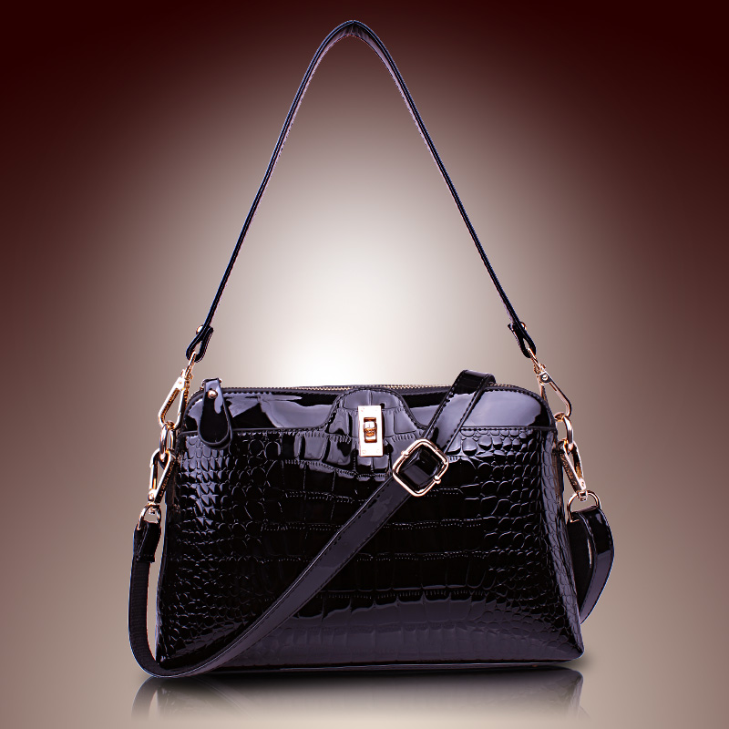 Women's Patent Leather Handbags All-match Alligator Shoulder CrossBody Bags Ladies Fashion Messenger Bag Hobos Women Bags цены онлайн