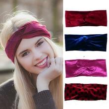 ФОТО headband women fashion velvet twist headwrap hair accessories earwarmers noble scrunchy hair band turban head band bandana