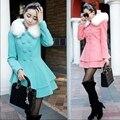 2016 outono inverno de lã de médio - longo casaco feminino grande fino dupla breasted gola de pele com capuz moda feminina outerwear