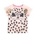 Летние Девочки С Коротким Рукавом Футболка Для Девочки Розовый 3D Leopard Печатный Топы Тис Футболки Мода детская Одежда 1-6Y