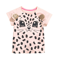 Summer Baby Girls Short Sleeve T Shirt For Girls Pink 3D Leopard Printed Kids Tops Tees T Shirts Fashion Children's Clothes 1-6Y
