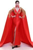 Czerwony Satyna Cheongsam Nowoczesne Qipao Długa Tradycyjny Formalna Chiński Suknia Ślubna Kobiety Phoenix Hafty Suknie Wieczorowe