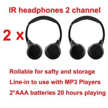 IR Infrared Wireless headphone Stereo Foldable Car Headset Earphone Indoor Outdoor Music Headphones TV headphone 2 headphones