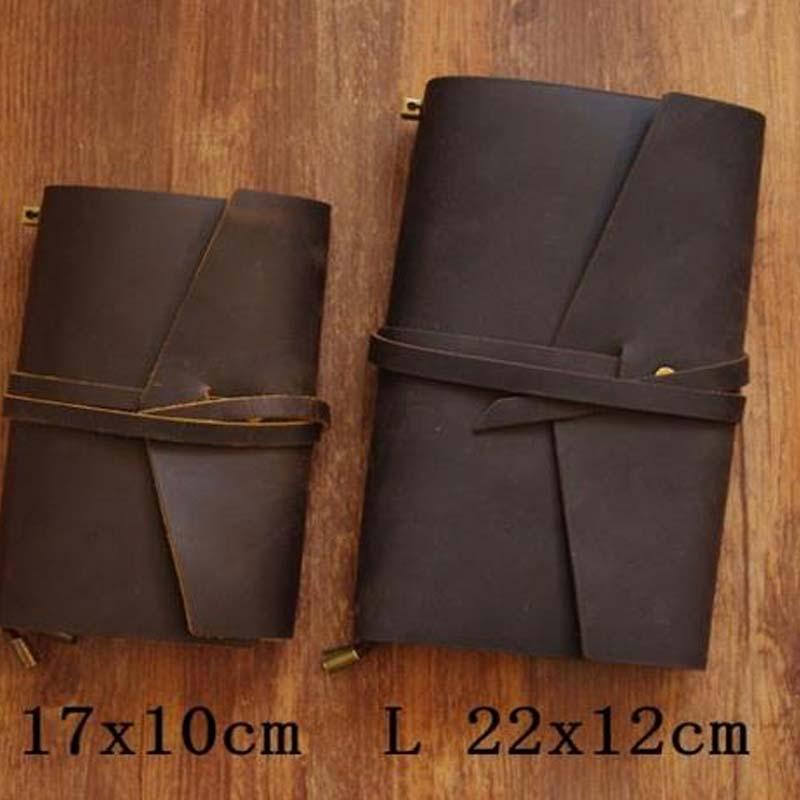 Vintage Traveler's Notebook Cowhide Diary Handmade Journal 100% Genuine Leather Spiral Looes Leaf DIY simline vintage 100