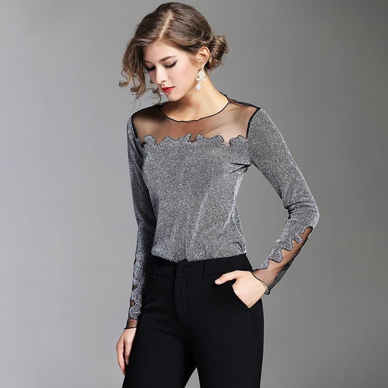 shirt Marque Dames Shirt Élégant T Gaze Plus Tops T shirts Mode Taille L'europe Sexy Noir T La Printemps 2018 Nouvelle Transparent Mince Patchwork vqwaU17gx