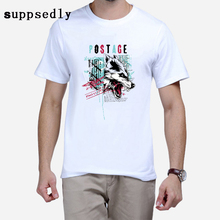 New  Homme  Game of  Thrones T Shirt  Men Cool The Wolf Head Hipster Tops customize Short Sleeve Tee Tops D022