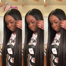 Natural Color Brazilian Virgin Hair Lace Front Wigs V Part Silk Straight Human Hair Lace Front Wig For Black Women