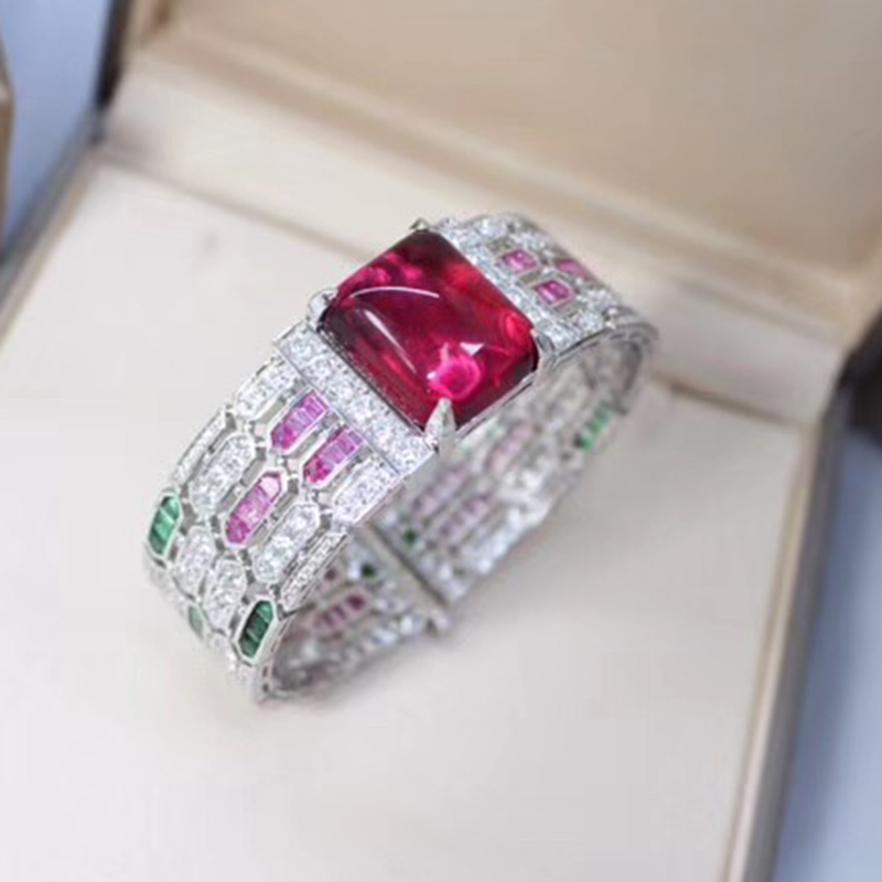 Brand Fashion Party Jewelry For Women Rome Red Crystal Bangle Hollow Out Big Wide Bangle Wedding Red Custom Jewelry Easy Lock