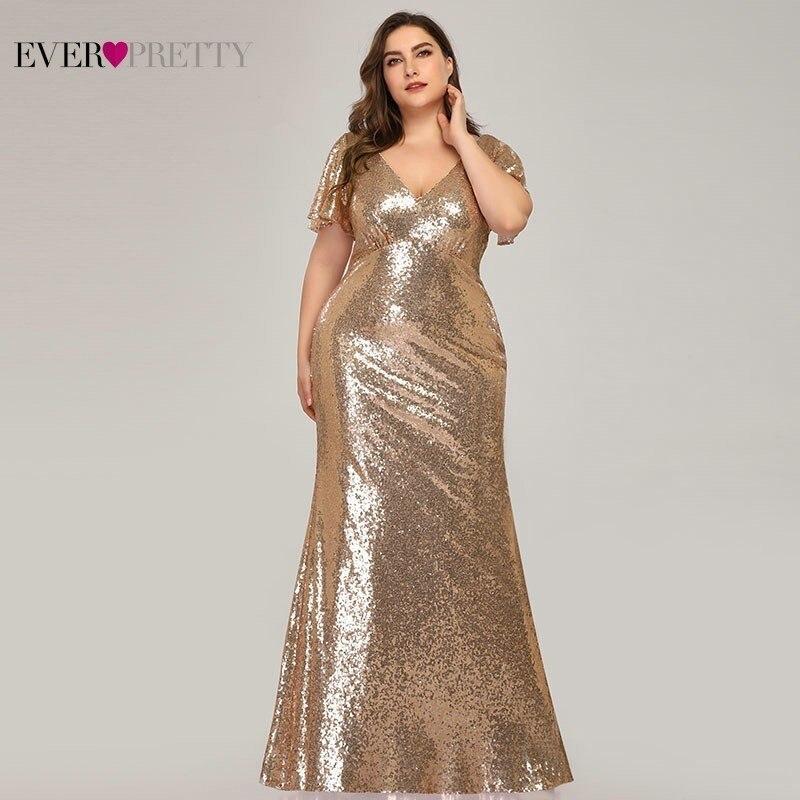 Plus Size Rose Gold Evening Dresses Long Ever Pretty EP07988RG Mermaid V-Neck Sequined Arab Formal Party Dresses Lange Jurk 2019