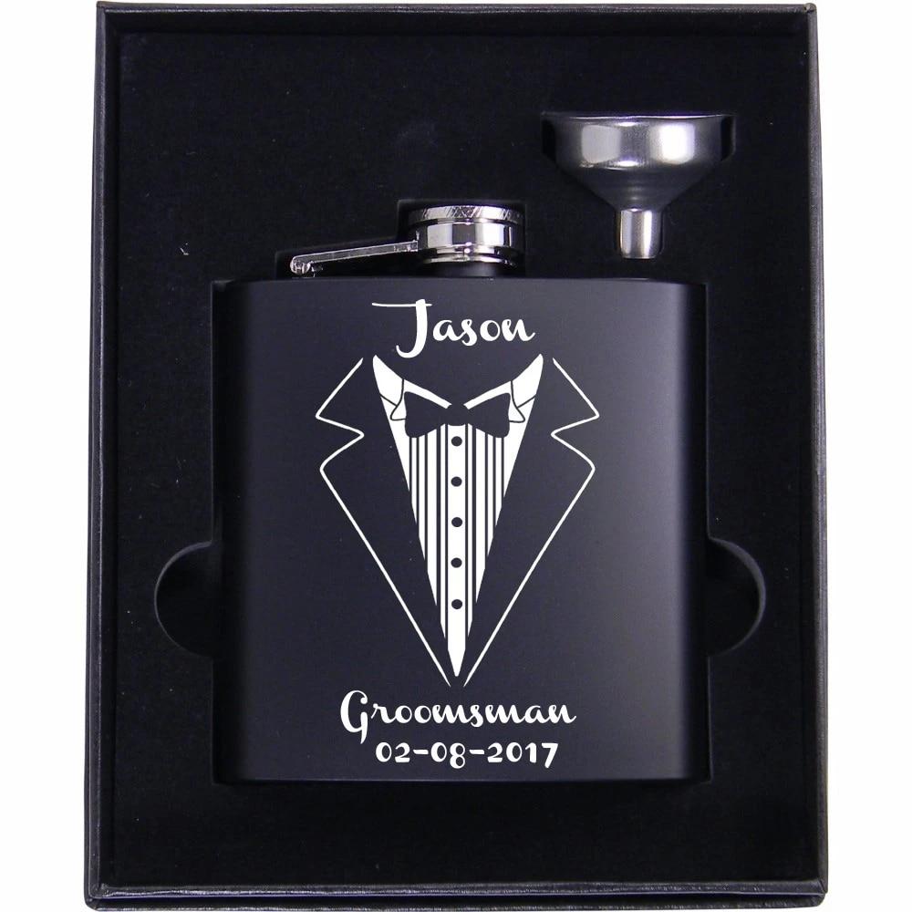 Wedding Gift for Groomsman Personalized Groomsman Flask Las Vegas Design Bachelor Party Custom Engraved Black Flask