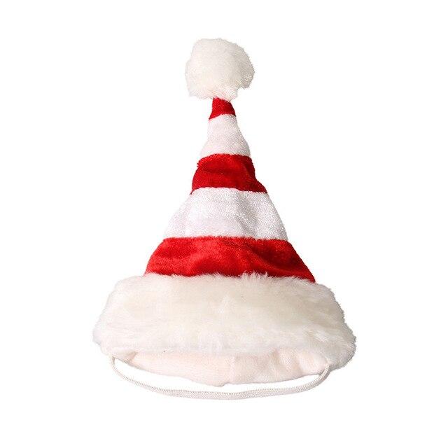 Nueva Cómodo Vestir Mascotas Productos 6 cm-12 cm Rojo Blanco Rayado  Sombrero De Navidad 884885d7159