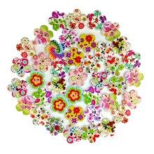 100 шт Деревянный милый цветок 2 отверстия кнопки для шитья скрапбукинга DIY аксессуар