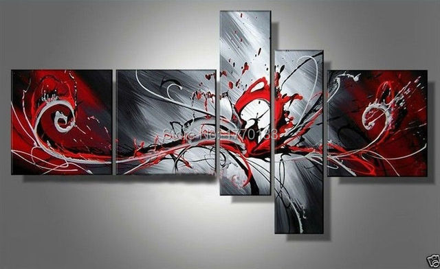 3e8b019e53 Handmade modern abstract peacock painting on canvas 5 piece wall art  pictures black white and red paintings home decor bedroom