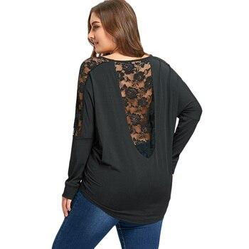 4fc8c54d63ecd 2019 Women T Shirt New Year Plus Size Lace Insert Sheer Ladies Tops