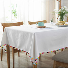 Nordic Simple Tablecloths White With Colorful Ball Tassel Tablecloth Rectangle Gala Home Kitchen Party Decorations Table Cover