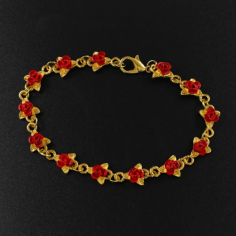 Rose Leaf Bracelet Red Rose Leaf Bracelet Flower Alloy Design String Bracelet Jewelry