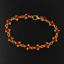 Rose Leaf Bracelet Red Rose Leaf Bracelet Flower Alloy Desig