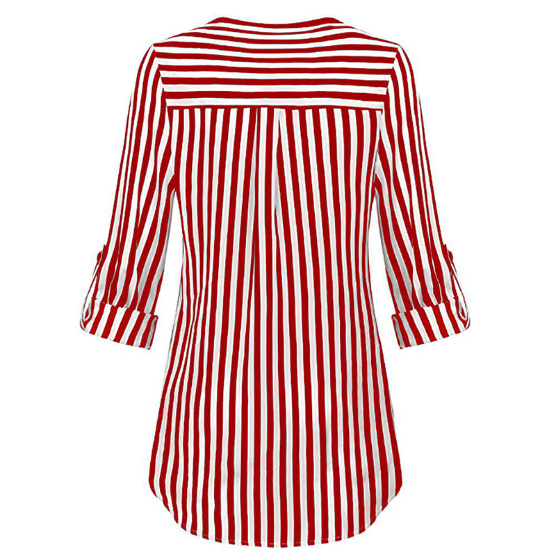 Moda En Negro Blusa Camisa Marino rojo Cuello A Que Rayas Basa azul Impresión La Las Manga Larga Otoño V Mujeres De tvxqaIT