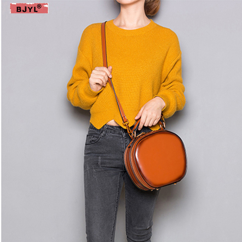 BJYL new Women Genuine leather handbags slung minimalist retro female shoulder bag diagonal messenger mini round bag package summer bag 2018 new round package personality retro handbag imported leather messenger bag female shoulder bag leather handbags