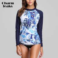 Charmleaks Frauen Langarm Rashguard Bademode Retro Floral Print Badeanzug Rash Guard UPF50 + Surfen Top Lauf Shirts