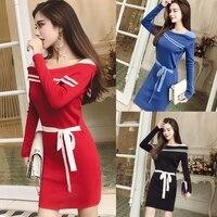 새로운 여성 드레스 세일러 칼라 뜨개질 전체 소매 섹시한 컬러 매칭 포켓 엉덩이 드레스 레드 블루 블랙 1579