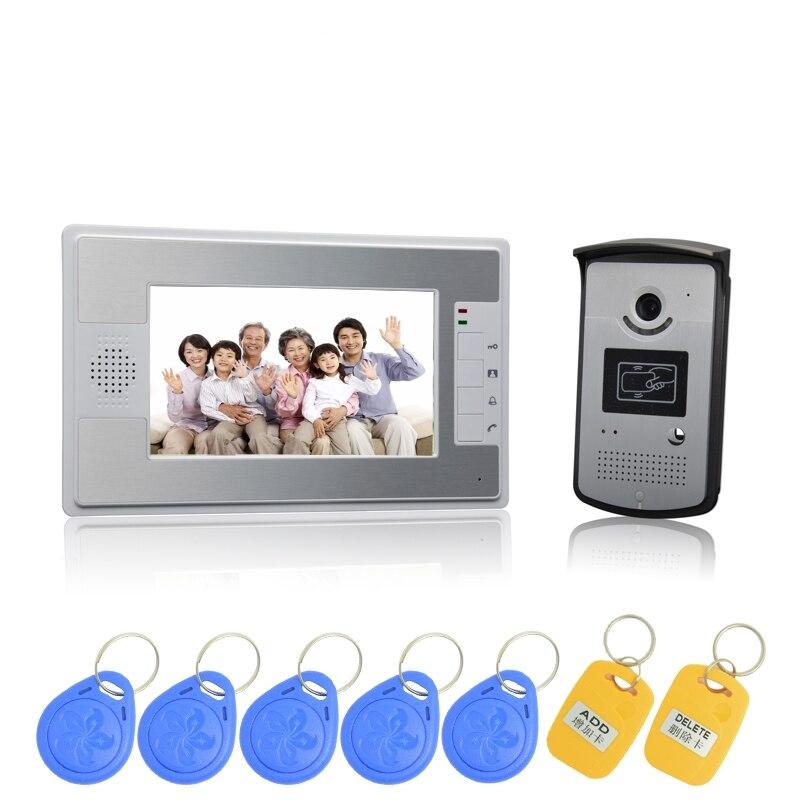 (1 ensemble) HD 7 pouces affichage coloré boîtier en Aluminium un à un système de visiophone carte RFID déverrouiller caméra interphone filaire