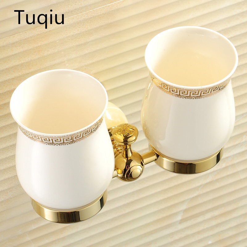 European Style Double Cup Holder Toothbrush Holder with Ceramic Cups Antique Brass Solid Brass Rack Tumbler Holder Wall Mounted cup & tumbler holders 2 ceramic cups antique brass toothbrush double cup holder wall bathroom accessories tumbler rack hj 1303f