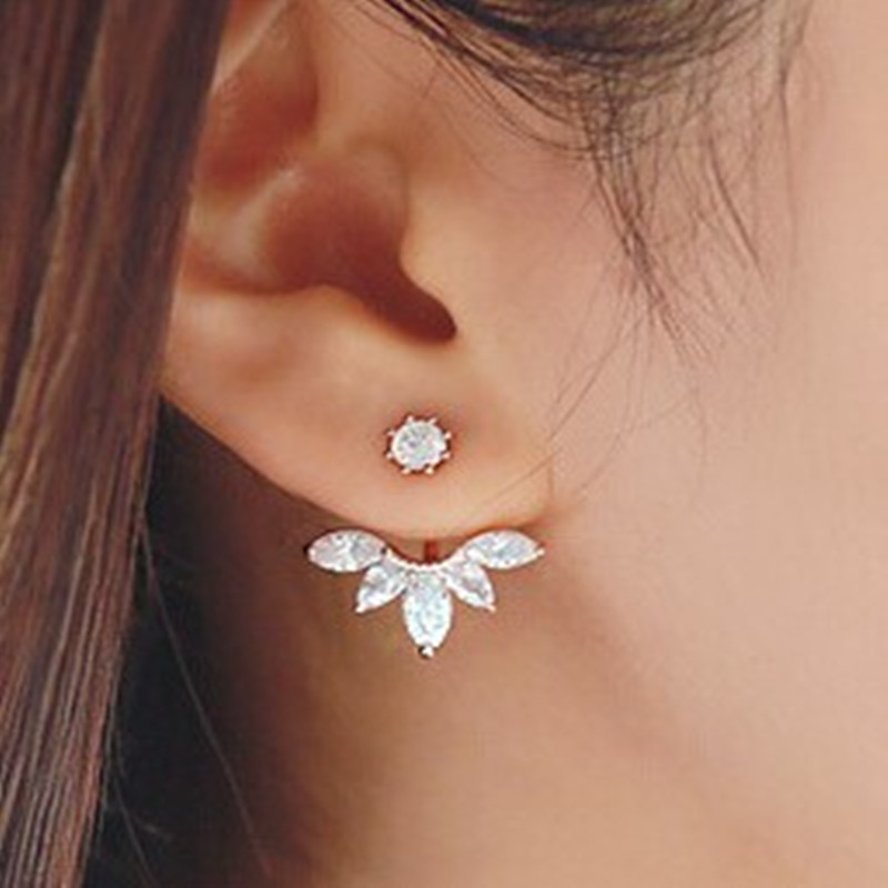 Leaf Crystals Stud Earring for Women Double Sided Fashion Jewelry Earrings female Ear Jacket brincos Pending Mujer(China)