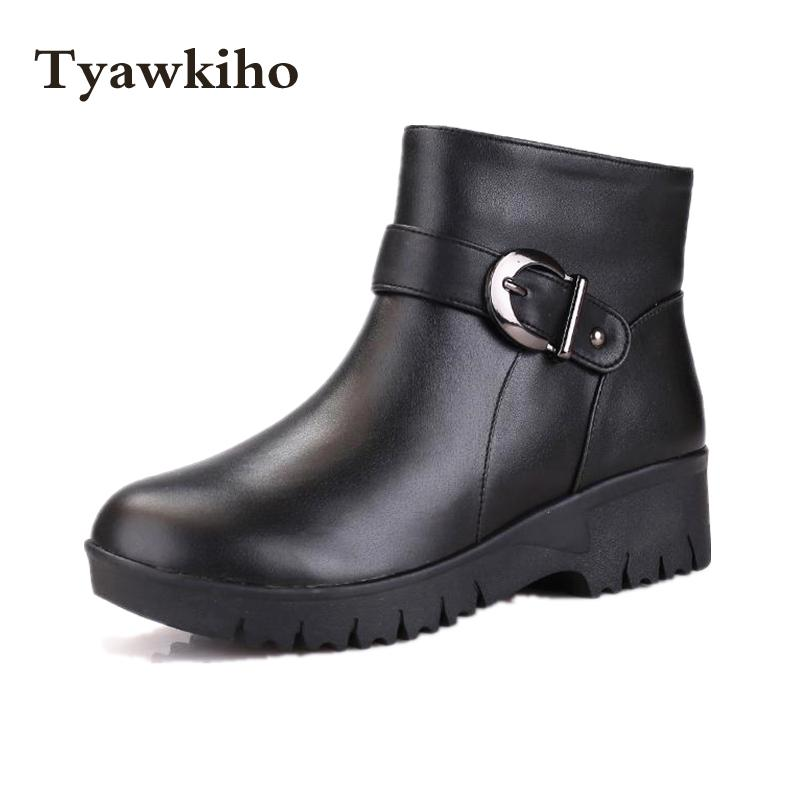 Tyawkiho Plus Size Women Winter Snow Boots Plush Insole Designer Genuine Leather Ankle Boots Low Heel Warm Wedge Shoe Waterproof