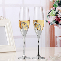 2pcs Set Wine Glass Goblet Heart Shaped Durable For Wedding Engagement Champagne #2