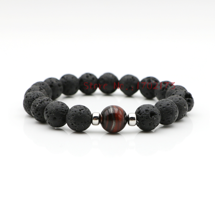 High Quality Red Tiger Eye Beads Lava Stone Bracelet For ...