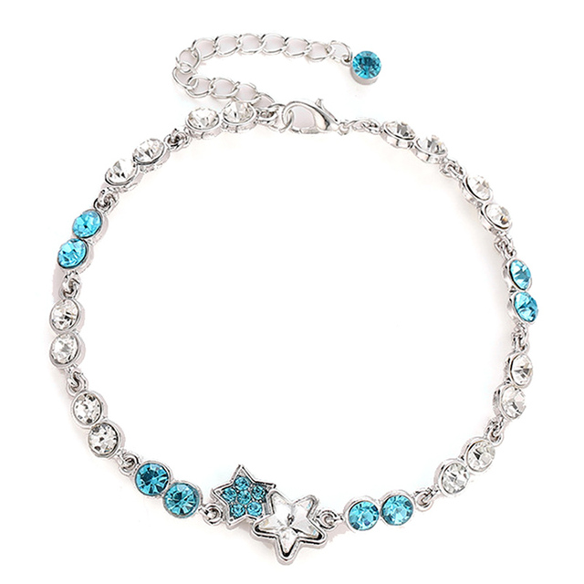 Us 1 05 New Arrival Fashion Atmosphere Flash Sterling Silver Jewelry Blue Five Pointed Star Artificial Crystal Sweet Bracelets In Charm
