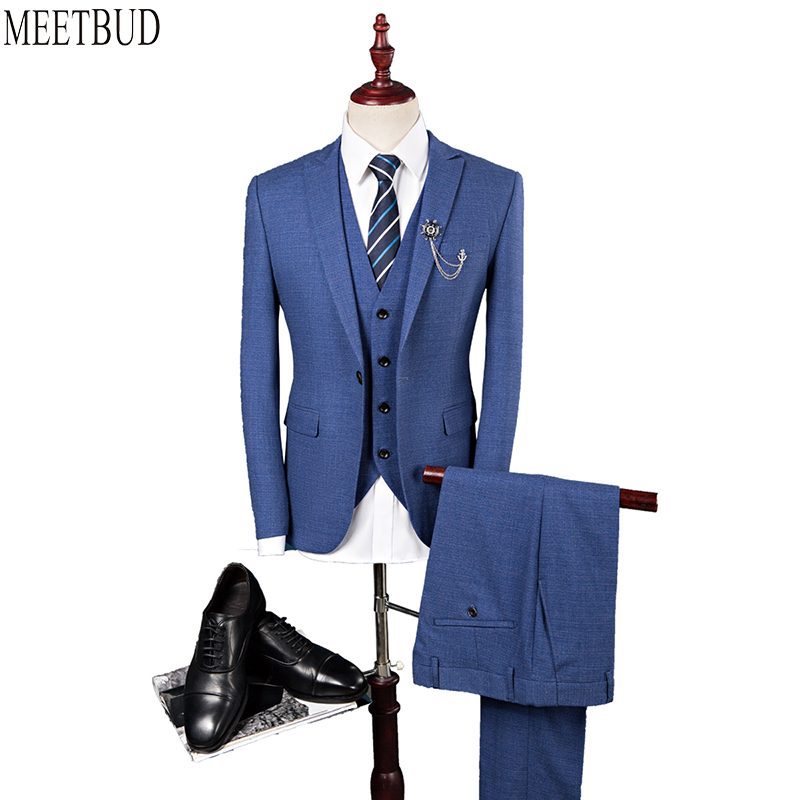 MEETBUD Brand men suit for wedding business casual slim fit party host man blue gray suits dress (jacket+pants+vest) 3 pieces